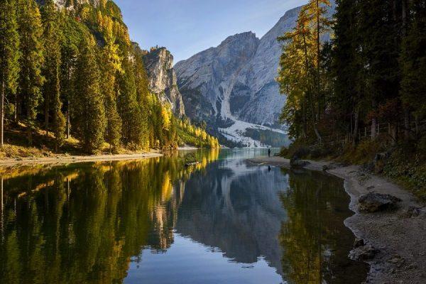 dolomites-forest-lake-mountains-europe